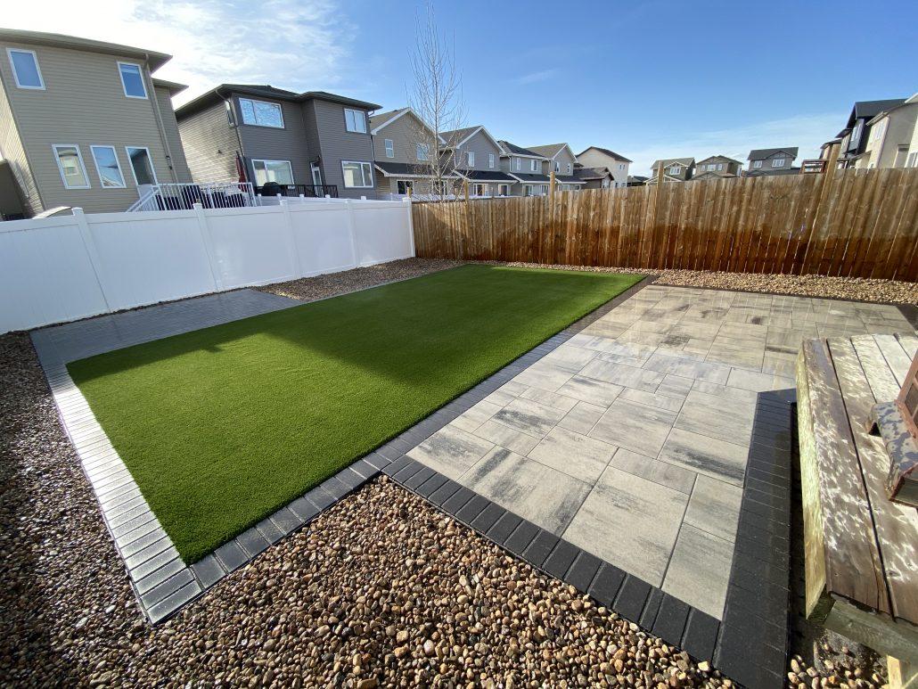 Landscape Design Artificial Turf Interlocking Paving Stone Installation Belgard Expocrete Bellaturf